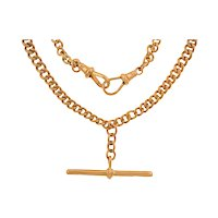 """15.5"""" Antique 9ct Gold Graduating Albert Chain, with Antique Dog-Clips (36.6g)"""