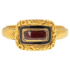 Georgian 18ct Gold Red & Black Enamel Mourning Ring c.1823