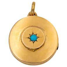 Antique 9ct Gold & Turquoise Star Set Round Locket, 10g