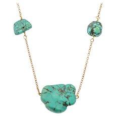 """21"""" Victorian 9ct Gold Integral Turquoise Necklace"""