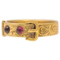 Antique 9ct Gold Garnet Engraved Buckle Ring