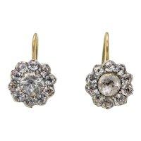 Georgian Paste Cluster Drop Earrings, 15ct Gold & Silver