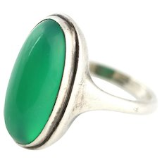 Charming Silver Art and Crafts Movement Green Chalcedony Ring - c.1890 - Red Tag Sale Item