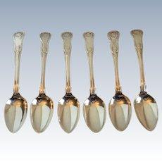 Antique Georgian Kings Pattern Sterling Silver Set 6 Tablespoons 345 Grams