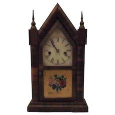 Antique 1870s Waterbury Steeple Clock Mahogany Veneer