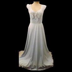 Blue 70s Vanity Fair Nightgown Sweeping Hem Size L