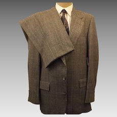 70s Hart Shaffner Marx Windowpane Check Men's Suit Gray Size 40 R