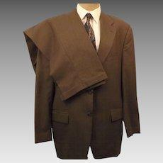 Ralph Lauren CHAPS Men's Brown Tattersall Wool Suit Size 42R