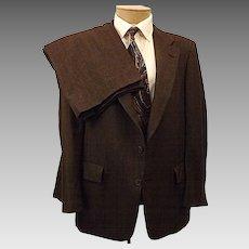 70s Hart Schaffner Marx Brown Check Men's Suit Size 40 R