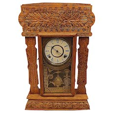 1890s Antique E Ingraham Co. Gingerbread Kitchen Clock Edward Model