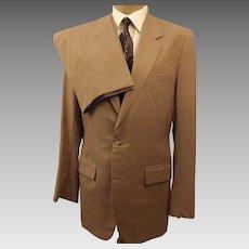 80's Custom Bespoke Tan Wool Men's Suit Size 40 L
