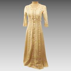 Antique 1910 Edwardian Ivory Wedding Dress Hand Made Size 2 P