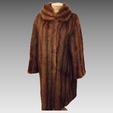 Vintage 40's Striped Mink Fur Coat by Gittelmans Sons Size L