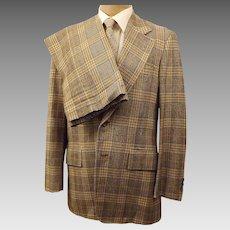 Corbin Ltd Blue Windowpane Check Plaid Men's Suit Size 40