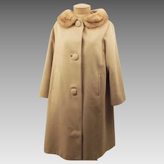 60s Vintage Eininger Wool & Fur Coat with Mink Trim Collar Size L