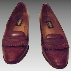 Neiman Marcus Italian Oxblood Leather Tassel Flats Size 6 1/2