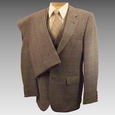 60's Men's Boy's Austin Hill 3pc Gray Check Suit  Size 38 40