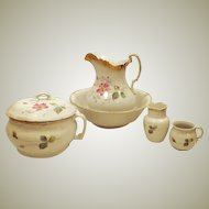 Victorian Waco China Wash Basin Pitcher Chamber Pot Set
