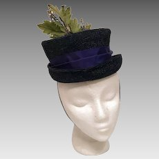 Black PillBox Hat w Green Leaf Spray and Hair Strap