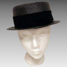 70's Vintage Bowler Derby Black Woven Hat w Velour Band