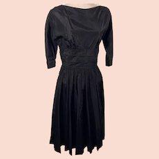 50's Jonathan Logan Black Satin Rockabilly Swing Dress