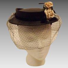 50's Vintage Black Birdcage Veil Cocktail Hat