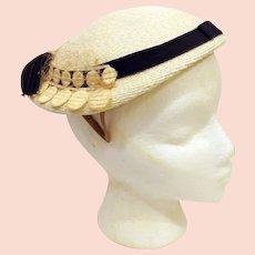 50's Cocktail Tilt Hat by Roberta Bernays