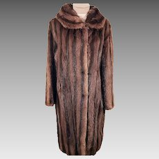 40's Vintage Fur Coat - 40's Striped Mink Fur Coat Size L