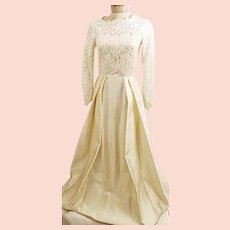 60's Ivory Lace Embroidered Wedding Dress