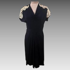 Vintage 40s Miss Hunter Blue Lace Evening Dress