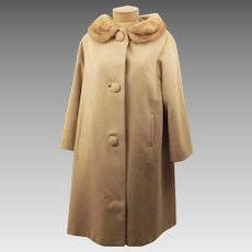 60's Vintage Mink Fur Collar Overcoat Size L Eininger