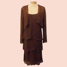 80's Patra Brown Chiffon Tiered Evening Dress