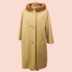 50's Mink Fur Collar Top Coat by Grandura