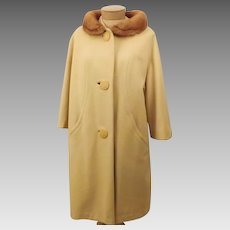 50's Vintage Mink Fur Collar Top Coat - Overcoat by Grandura