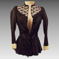 1880s Original Victorian Black Satin Lace Blouse