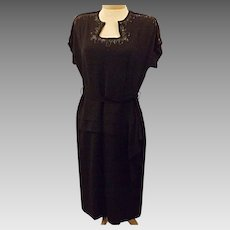 40s Dress 40s Vintage Black Evening Dress Embellished Bead Size 8