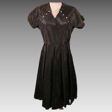 50's Handmade Dress 50's Vintage Black Satin Evening Dress Size 12