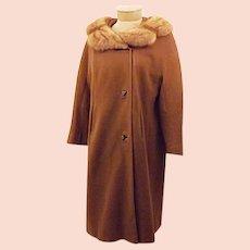 60's  Honey Mink Fur Trim Overcoat
