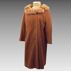 60's Vintage Honey Mink Fur Trim Overcoat