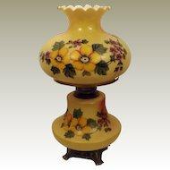 60's Brass Hand Painted Hurricane Oil Lamp
