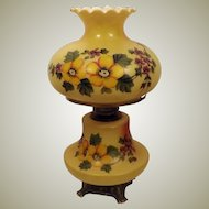 60's Hand Painted Double Globe Hurricane Oil Lamp