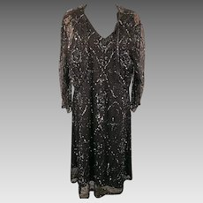 Vintage 70's Patra Black Sequin Cocktail Party Dress with Jacket Size 16