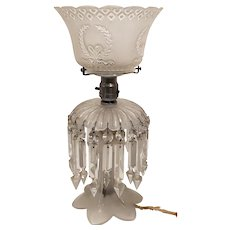 20's Art Deco Style Frosted Crystal Prism Parlor Light