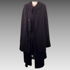 1900's Victorian Inverness / Ulster Men's Wool Cape Coat