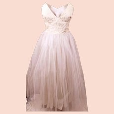 60's Handmade White Satin Strapless Party Dress with Tulle Mesh