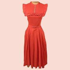 50's Joan Miller Red Cape Swing Rockabilly Party Dress