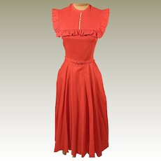 Vintage 50's Joan Miller Red Cape Swing Party Dress
