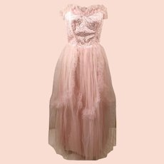 60's Handmade Pink Satin Strapless Party Dress with Tulle Mesh