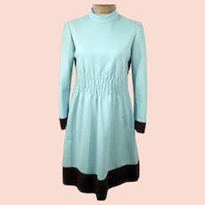 60's Blue Shift Day Dress with Brown Stripe