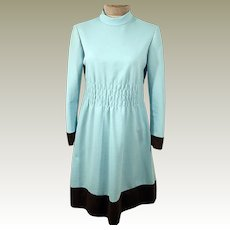 60's Baby Blue Shift Day Dress with Chocolate Brown Stripe